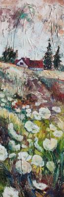 Wiese mit wilder Schafgarbe, 90x30cm,Öl auf Leinwand