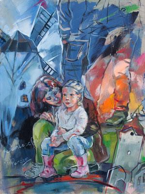 Mutter mit Kind beim Weinlesefest in Retz, 80x60cm, Öl auf Leinwand
