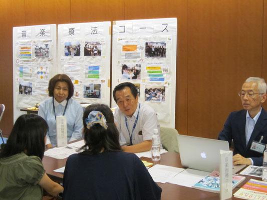左から音楽教員養成コースの木村満壽美先生・八木正一先生、音楽指導コースの坂﨑紀先生