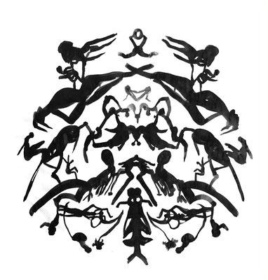 symmetrie 2, 140 x 150 cm, Acryl auf Papier