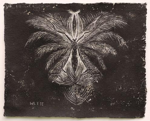 insection 6 (Federgeistchen), 2018, 28 x 23 cm, verschiedene Wachse auf Leinen