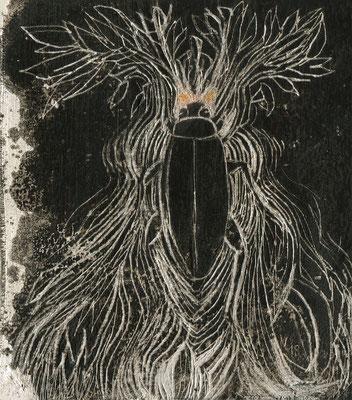 insection 13, 2018, 14 x 15 cm, verschiedene Wachse auf Leinen