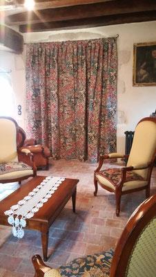 Rideaux fenêtres à meneaux - doublure isolante - plis creux - Etoffe Jean-Paul Gaultier