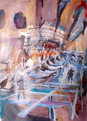 W. Bohns: Navigator, 2012, Mischtechnik auf Papier, 69 x 100 cm