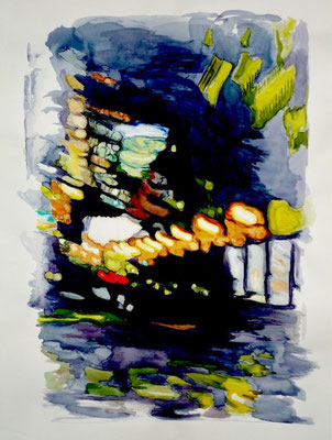 Liquid Room Nr. 9, 2008, Aquarell auf Bütten, 100 x 78 cm
