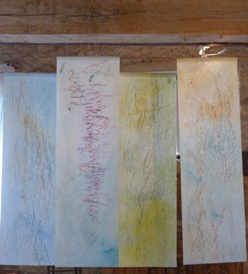 Lignes d'arbre 2018 - pigments et pastels sur non-tissé - format 40 x 120 cm