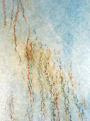 Lignes d'arbre - peuplier -  2018 - pigments et pastels sur non-tissé - format 40 x 120 cm