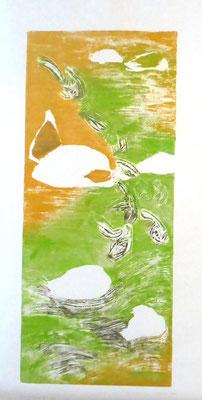 La rivière 2 - 2018 - Gravure sur bois imprimée sur papier de chine et papier Fabriano - 3 exemplaires - Bois : 30 x 50 cm