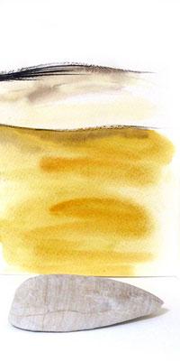 Au fil des pierres 5 - encre de chine, aquarelle, sable, pierre