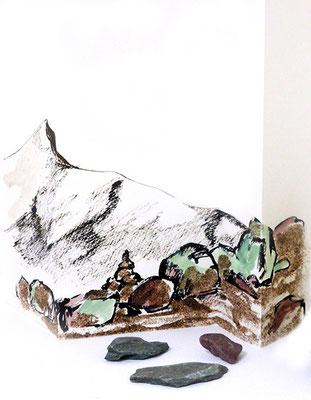 Au fil des pierres 3 - encre de chine, aquarelle, sable, pierres