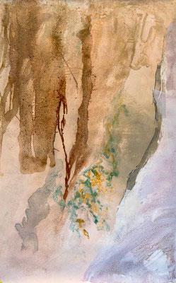 A fleur de roche - pigments, sable et encre de chine - peinure sur toile libre de 100 x 150 cm