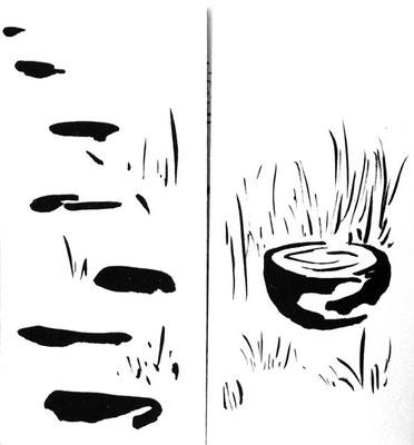 dessins à l'encre de chine - panneaux