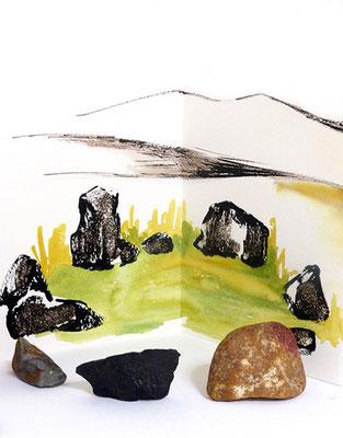 Au fil des pierres 4 - encre de chine, aquarelle, sable, pierres