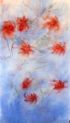 Levée des dormances 5- pigments - fusain et sable sur non-tissé format : 74cm L x 135cm H