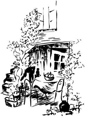 La maison des blés - tonnelle - dessin à l'encre de chine