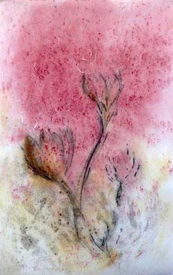 Levée des dormances 4- pigments - fusain et sable sur non-tissé format : 63cm L x 96cm