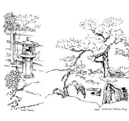 Kyoto - Temple de Ryoanji et  jardins du château Nijo