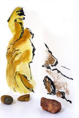 Au fil des pierres 9 - encre de chine, aquarelle, sable, pierres