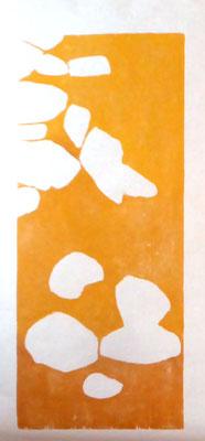 La rivière 1 - 2018 - Gravure sur bois imprimée sur papier de chine et papier Fabriano - 3 exemplaires - Bois : 30 x 50 cm