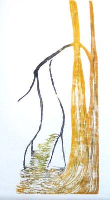 La rivière 3 - 2018 - Gravure sur bois  imprimée sur papier de chine et papier Fabriano - 3 exemplaires - Bois : 30 x 50 cm
