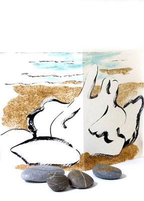 Au fil des pierres 1 - encre de chine, aquarelle, sable, galets