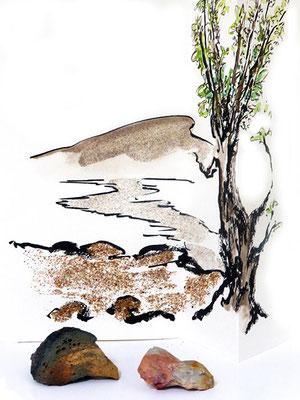 Au fil des pierres 10- encre de chine, aquarelle, sable, pierres