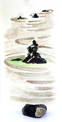 Au fil des pierres 11 - encre de chine, aquarelle, sable, pierres