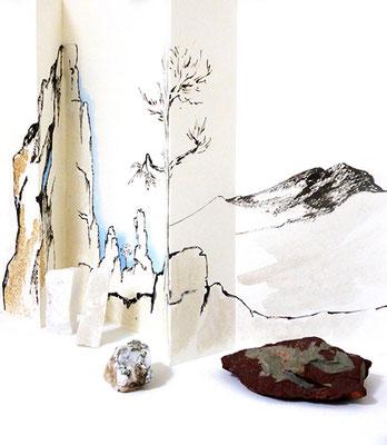 Au fil des pierres 2 - encre de chine, aquarelle, sable, pierres