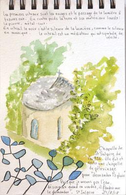 vitrail de Claude Baillon dans la chapelle de saint Sulpice