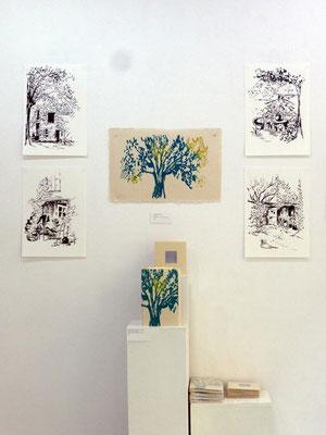 Dans la maison des blés - livre d'artiste avec marianne Auricoste - dessins à l'encre de chine et xylographie