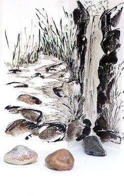Au fil des pierres 7 - encre de chine, aquarelle, sable, pierres