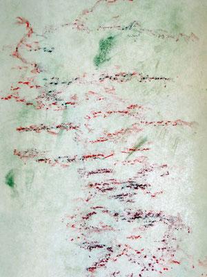 Lignes d'arbre - cerisier détail -  2018 - pigments et pastels sur non-tissé - format 40 x 120 cm