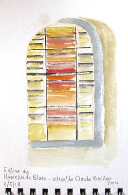 Vitrail créé par Claude Baillon au hameau de Blanc