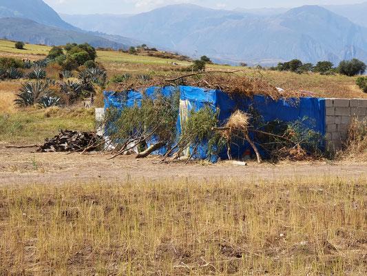 Eine vierköpfige Familie wohnt in unserem Viertel unter dieser blauen Plastikplane
