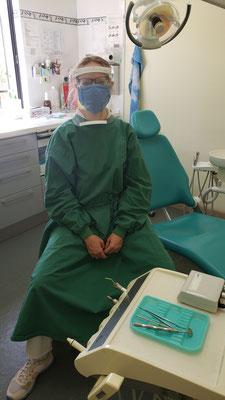 Hanna ist bereit für den nächsten Patienten