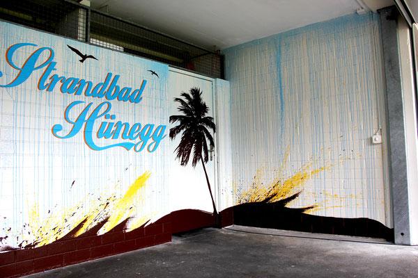 Strandbad Hünegg, Idee kreativ, Grafik, Werbetechnik, Wandgestaltung, Kreativ, Bern, Zürich, Schweiz