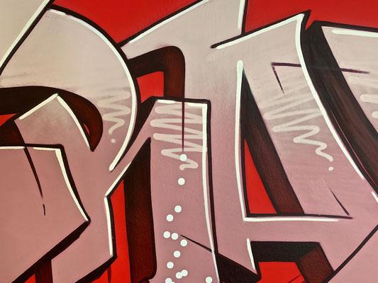 Wandgestaltung. gesprayt, Schablonentechnik, Werbetechnik