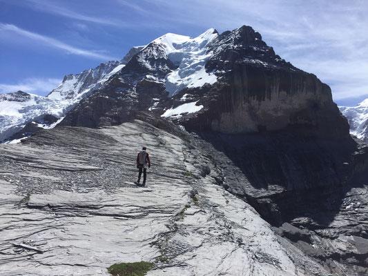 5.7.: Über den Rücken zur Silberhornhütte, rechts der Mitte die Rotbrettwand.