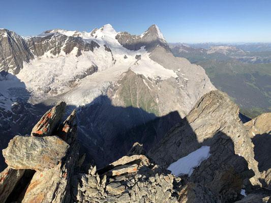 Blick vom Klein Schreckhorn zu Mönch und Eiger.