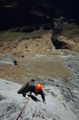 Kleiner Boulder-Move in der 6. Länge