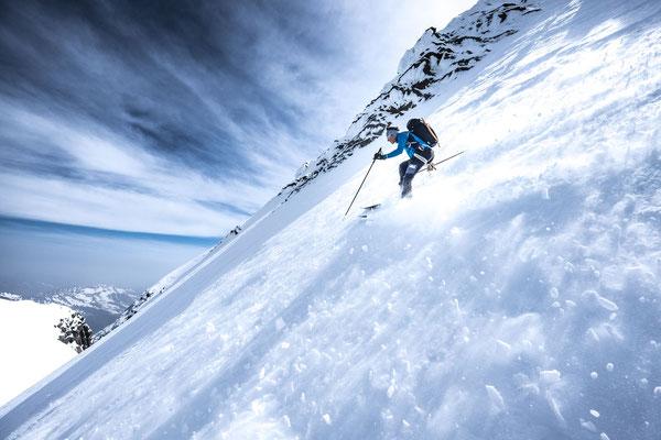 Peter kurz unter dem Gipfel. (Foto: Lukas Rohr)