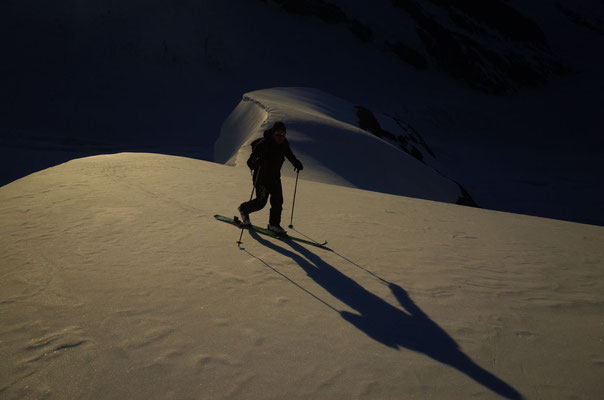 Glatte Schneeoberfläche, zum Skifahren wäre es sicher auch schön gewesen.