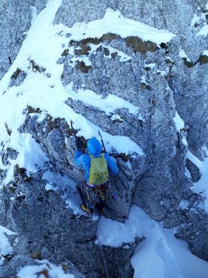 Ausstieg in deutlich leichterem Gelände über die Tschabolt... Foto: Silvan