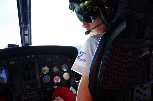 Gute Unterstützung von Air Glaciers, Piloten Julie May.