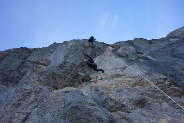 Unter der Boulderstelle in der 15. Länge (Foto: B. Rathmayr)