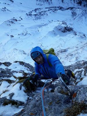 Peter geniesst die Kletterei sichtlich. Foto: Silvan