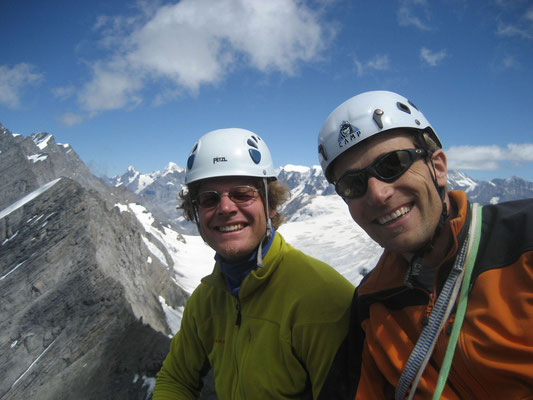 Erstbegehung, Bernd & Peter am Ausstieg auf dem Doldenhorn-Ostgrat
