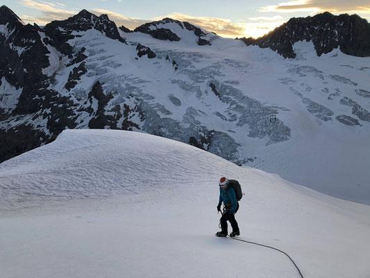 Auf dem Grindelwaldgletscher unter dem Klein Schreckhorn.