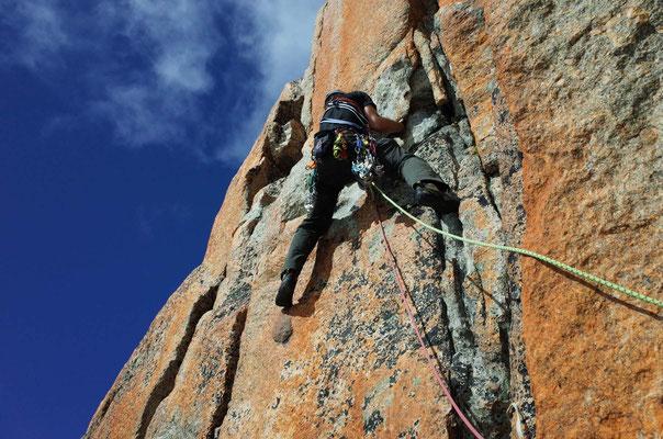 Grossgriffige Kletterei in der 6. Länge