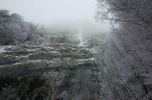 Der erste, respekteinflössende Blick auf den Eisfall.